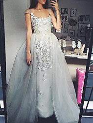 cheap -Ball Gown Scoop Neck Floor Length Tulle Elegant Prom Dress with Appliques 2020
