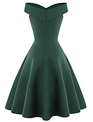 cheap -Audrey Hepburn 1950s Vintage Inspired Dress Women's Spandex Costume Black / Green / Red Vintage Cosplay Wedding Party Short Sleeve Midi A-Line