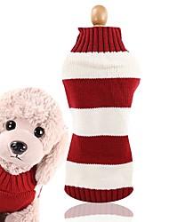 baratos -Cachorros Gatos Súeters Inverno Roupas para Cães Listra Vermelho Ocasiões Especiais Husky Labrador Golden Retriever Felpudo Riscas Casual Estilo simples XS S M L XL