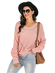 cheap -Women's Solid Colored Long Sleeve Pullover Sweater Jumper, V Neck Fall / Winter Blushing Pink S / M / L