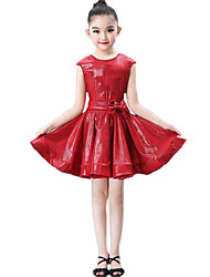 cheap -Latin Dance Dresses Girls' Performance / Theme Party Lycra Bow(s) / Wave-like Sleeveless Dress / Belt / Shorts