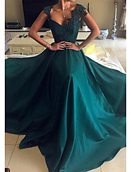 cheap -A-Line Scalloped Neckline Court Train Satin Sexy / Green Prom / Formal Evening Dress with Beading / Appliques 2020