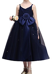 cheap -Ball Gown Ankle Length Flower Girl Dress - Polyester Sleeveless Spaghetti Strap with Bow(s)
