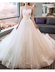 cheap -A-Line Sweetheart Neckline Cathedral Train Polyester Strapless Made-To-Measure Wedding Dresses with Beading / Appliques 2020