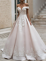 cheap -A-Line Off Shoulder Court Train Polyester Short Sleeve Romantic Illusion Detail Wedding Dresses with Appliques 2020