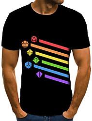 baratos -Homens Camiseta 3D / Arco-Íris Preto