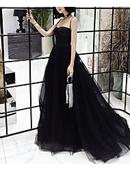 cheap -A-Line Spaghetti Strap Sweep / Brush Train Tulle Open Back Prom / Formal Evening Dress with Buttons / Pleats 2020