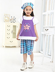 cheap -Baby Girls' Active / Basic Floral / Print / Color Block Print Short Sleeve Regular Regular Clothing Set Purple