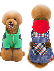 baratos -Cachorros Camisola com Capuz Macacão Inverno Roupas para Cães Verde Vermelho Ocasiões Especiais Algodão Retalhos Fantasias S M L XL XXL XXXL