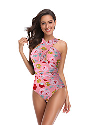cheap -Women's Basic Blushing Pink Blue Halter Cheeky High Waist One-piece Swimwear - Floral Geometric Lace up Print S M L Blushing Pink