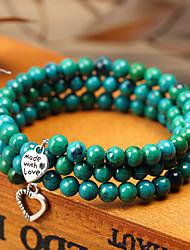 cheap -Women's Bead Bracelet Wrap Bracelet Vintage Bracelet Layered Alphabet Shape Heart Simple Classic Vintage Trendy Fashion Stone Bracelet Jewelry Black / White / Green For Gift Daily School Holiday