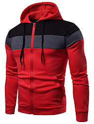 cheap -Men's Casual / Basic Hoodie - Color Block Black US32 / UK32 / EU40