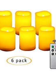 Недорогие -6 шт. 4 * 5 см пластиковые беспламенные светодиодные Вотивные свечи на батарейках электрический чай свет реалистичные мерцающий теплый желтый свет с пультом дистанционного управления и таймер на