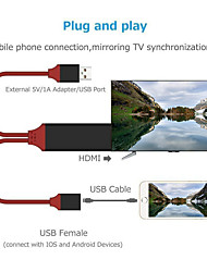 cheap -HDMI / Lightning Adapter 1.0m(3Ft) All-In-1 / 1 to 2 / Gold Plated TPE Cable For iPhone