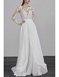 cheap -A-Line Jewel Neck Sweep / Brush Train Chiffon / Tulle Long Sleeve Made-To-Measure Wedding Dresses with Beading / Embroidery 2020