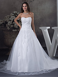 cheap -A-Line Strapless Court Train Lace / Tulle Strapless Wedding Dresses with Beading / Appliques 2020