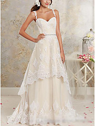 cheap -A-Line Sweetheart Neckline Asymmetrical / Sweep / Brush Train Lace / Tulle / Lace Over Satin Spaghetti Strap Made-To-Measure Wedding Dresses with Appliques 2020