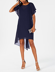 cheap -Sheath / Column Jewel Neck Knee Length Chiffon Short Sleeve Plus Size Mother of the Bride Dress with Tier 2020