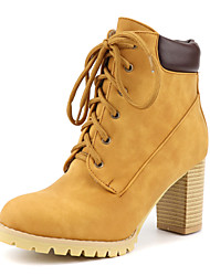 cheap -Women's Boots Chunky Heel Round Toe PU Booties / Ankle Boots Casual / British Fall & Winter Black / Dark Brown / Yellow
