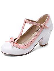 cheap -Women's Heels Chunky Heel Round Toe Bowknot PU Classic / British Spring &  Fall Black / White / Purple