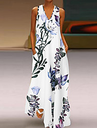 cheap -Women's Maxi long Dress - Sleeveless Floral Print Summer V Neck Casual Holiday Vacation Loose 2020 White Blue Yellow S M L XL XXL XXXL XXXXL XXXXXL / Plus Size