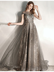 cheap -A-Line Jewel Neck Sweep / Brush Train Tulle Dress with Sequin / Appliques by LAN TING Express