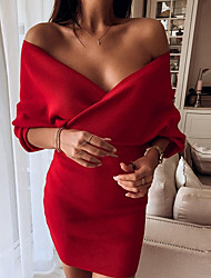 cheap -Women's Elegant Sheath Dress - Solid Colored Red S M L XL