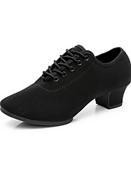 cheap -Women's Jazz Shoes Heel Thick Heel Polyester Ribbon Tie Black / Performance / Practice