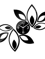 Недорогие -зеркальные настенные часы, красные и черные листья ромба стикер украшения