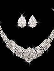 cheap -Women's Clear Red Cubic Zirconia Necklace Earrings Geometrical Heart Classic Baroque Earrings Jewelry Silver For Wedding Party 1 set