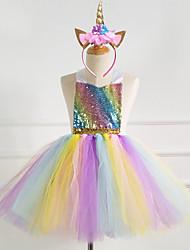 cheap -Kids Girls' Unicorn Rainbow Mesh Dress Rainbow