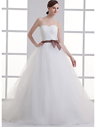 cheap -A-Line Sweetheart Neckline Court Train Lace / Satin / Tulle Strapless Wedding Dresses with Sashes / Ribbons / Bow(s) / Ruched 2020