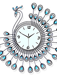 cheap -Large Peacock Wall Clock Modern Design Home Decor Wall Watch Living Room Bedroom Mute Clock Wall Metal Digital Wall Clocks