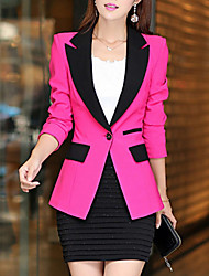 cheap -Women's Blazer Solid Colored Polyester Coat Tops Black / Blue / Fuchsia