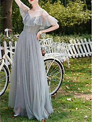 cheap -A-Line V Neck Floor Length Chiffon Bridesmaid Dress with Lace / Ruffles