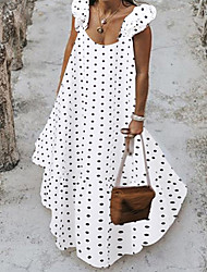cheap -Women's Elegant Shift Dress - Polka Dot Black White S M L XL
