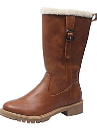 cheap -Women's Boots Low Heel Round Toe PU Mid-Calf Boots Fall & Winter Black / Brown / Army Green