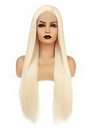 cheap -Synthetic Lace Front Wig Straight Gaga Middle Part Lace Front Wig Blonde Long Light golden Synthetic Hair 22-26 inch Women's Heat Resistant Women Hot Sale Blonde / Glueless