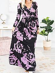cheap -Women's T Shirt Dress Maxi long Dress - Long Sleeve Floral V Neck Black Blue Purple Orange S M L XL