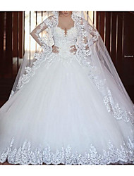 cheap -A-Line V Neck Floor Length Tulle Long Sleeve Illusion Sleeve Wedding Dresses with Lace 2020