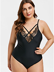 cheap -Women's Basic Boho Black Light Blue Halter Cheeky One-piece Swimwear - Geometric Solid Colored Racerback Lace Trims L XL XXL Black