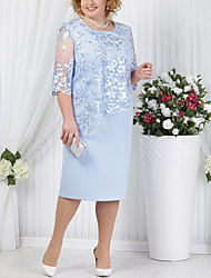 cheap -Sheath / Column Jewel Neck Knee Length Cotton Blend Half Sleeve Plus Size Mother of the Bride Dress with Lace 2020