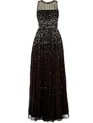 cheap -A-Line Elegant Prom Dress Jewel Neck Sleeveless Floor Length Tulle with Pleats 2021