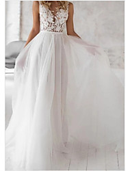 cheap -A-Line V Neck Floor Length Lace / Tulle Regular Straps Boho Wedding Dresses with Draping / Appliques 2020