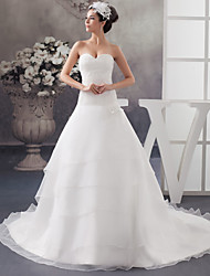cheap -A-Line Wedding Dresses Sweetheart Neckline Chapel Train Organza Satin Strapless with Beading Appliques Cascading Ruffles 2020