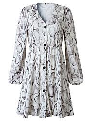 cheap -Women's Date Street Street chic Swing Dress - Tie Dye Print White S M L XL