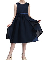 cheap -A-Line Tea Length Pageant Flower Girl Dresses - Chiffon Sleeveless Jewel Neck with Pleats