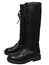 cheap -Women's Boots Low Heel Round Toe Synthetics Knee High Boots Classic / Vintage Winter / Fall & Winter Black / Party & Evening