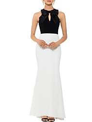 cheap -Sheath / Column Jewel Neck Floor Length Satin Color Block Formal Evening Dress with Bow(s) 2020