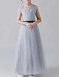 cheap -A-Line Jewel Neck Ankle Length Poly&Cotton Blend Junior Bridesmaid Dress with Lace